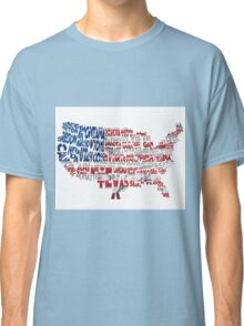 United States Typographic Map Flag Classic T-Shirt
