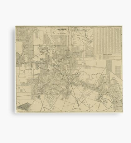 Vintage Map of Downtown Houston (1913) Canvas Print
