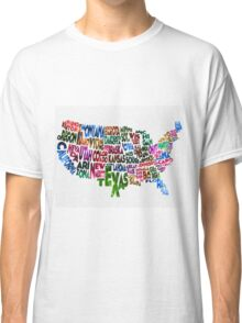 States of United States Typographic Map Classic T-Shirt