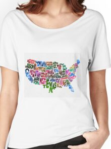 States of United States Typographic Map Women's Relaxed Fit T-Shirt
