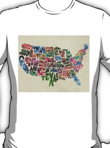 States of United States Typographic Map - Parchment Style T-Shirt