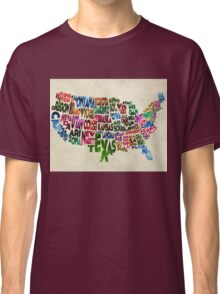 States of United States Typographic Map - Parchment Style Classic T-Shirt