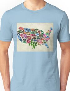 States of United States Typographic Map - Parchment Style Unisex T-Shirt