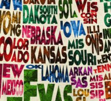 States of United States Typographic Map - Parchment Style Sticker