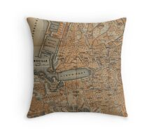 Vintage Map of Marseille France (1914) Throw Pillow