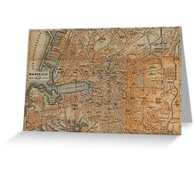 Vintage Map of Marseille France (1914) Greeting Card