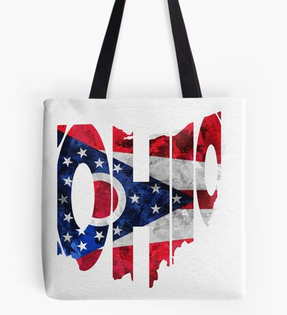 Ohio Typographic Map Flag Tote Bag