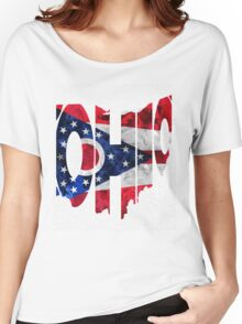 Ohio Typographic Map Flag Women's Relaxed Fit T-Shirt