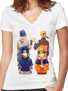 NARUTO & SASUKE Women's Fitted V-Neck T-Shirt