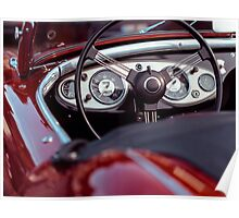 Vintage Red Convertible Car Poster