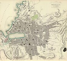 Vintage Map of Marseille France (1840) by BravuraMedia