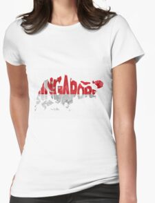 Singapore Typographic Map Flag Womens Fitted T-Shirt