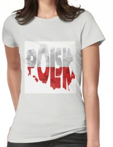 Poland Typographic Map Flag Womens Fitted T-Shirt