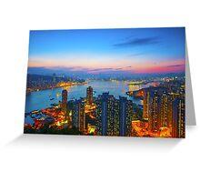 Hong Kong sunset Greeting Card