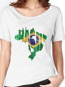 Brazil Typographic Map Flag Women's Relaxed Fit T-Shirt
