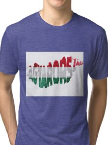 Hungary Typographic Map Flag Tri-blend T-Shirt