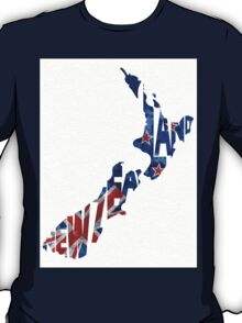 New Zealand Typographic Map Flag T-Shirt