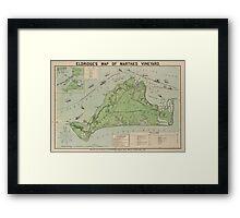 Vintage Map of Marthas Vineyard (1913) Framed Print