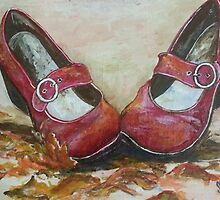 Red shoes and autumn leaves by Sonja Peacock