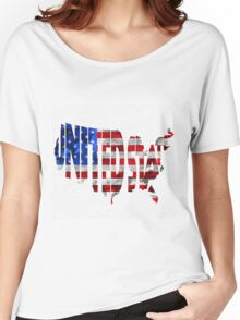 United States Typographic Map Flag Women's Relaxed Fit T-Shirt