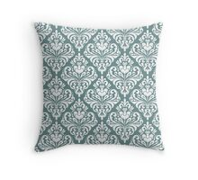 damask,vintage,floral,teal,white,pattern,elegant,chic,wall paper, decorative,modern,trendy Throw Pillow