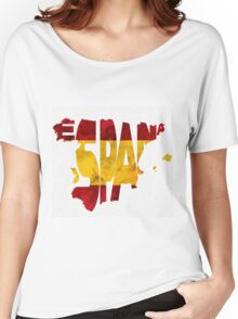 Spain Typographic Map Flag Women's Relaxed Fit T-Shirt