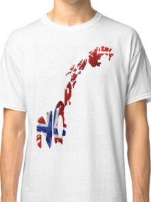 Norway Typographic Map Flag Classic T-Shirt
