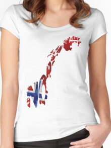 Norway Typographic Map Flag Women's Fitted Scoop T-Shirt