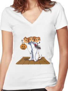 Little Cerberus wants to go for a walk Women's Fitted V-Neck T-Shirt