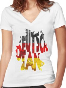 Germany Typographic Map Flag Women's Fitted V-Neck T-Shirt