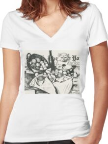 The basket of apples  Women's Fitted V-Neck T-Shirt
