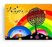 Birds over wood Canvas Print