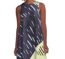 Dark Neon Rain Pattern // Shirt // Dress // Poster A-Line Dress