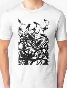 Birds over wood Unisex T-Shirt