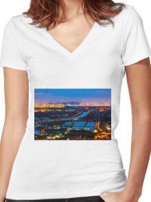 Sunset ponds Women's Fitted V-Neck T-Shirt