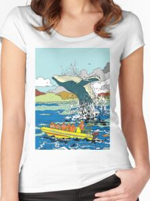 Jumping Whale Women's Fitted Scoop T-Shirt