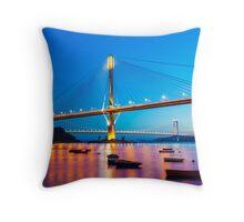 Ting Kau Bridge in Hong Kong Throw Pillow