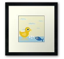 Duck and fish Framed Print