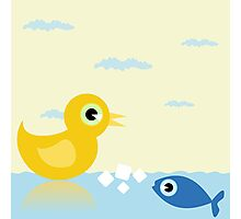 Duck and fish Photographic Print