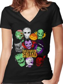 Halloween Squad Women's Fitted V-Neck T-Shirt