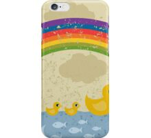 Ducks under a rainbow iPhone Case/Skin
