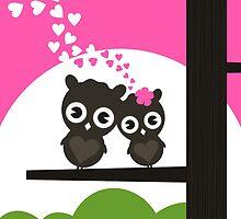 Enamoured owls by Aleksander1