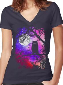 Owl Moon with Night Sky Stars Women's Fitted V-Neck T-Shirt