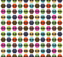 Bow tie pattern. Flat icons with hipsters style by Tatiakost