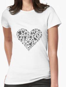 Heart a bird Womens Fitted T-Shirt