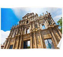 Ruins St Paul church in Macau, China Poster