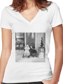 Side by Side Women's Fitted V-Neck T-Shirt
