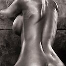 Sexy nude woman in steam room naked back artistic black and white art photo print by ArtNudePhotos