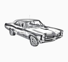 1967 Pontiac GTO Muscle Car Illustration Kids Tee