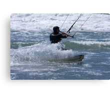 Kitesurfing in the Ocean - Coming Back to Shore Canvas Print